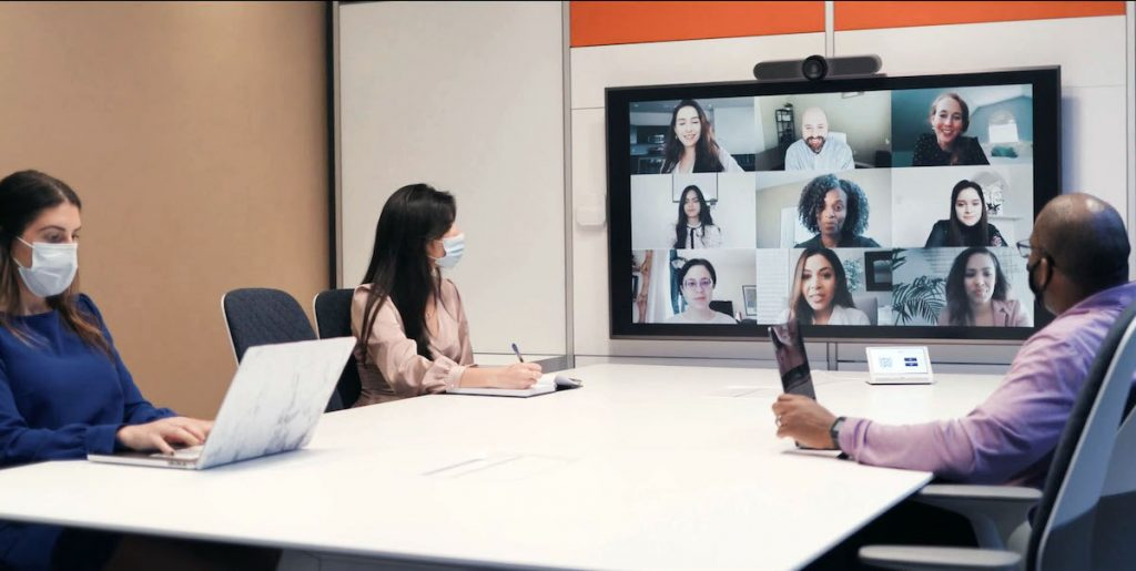 hybrid workplace strategy includes virtual meetings
